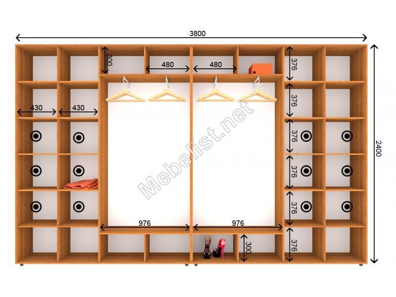 Четырехдверный шкаф-купе ШК 25-25-24 (380*45*240 см.)