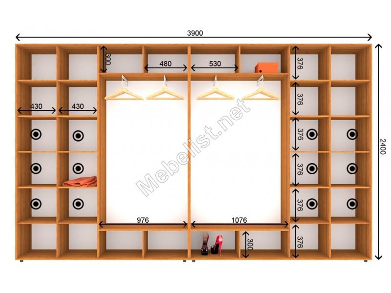 Четырехдверный шкаф-купе ШК 25-26-24 (390*45*240 см.)