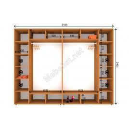 Четырехдверный шкаф-купе ШК 6-7-24 (310*60*240 см.)