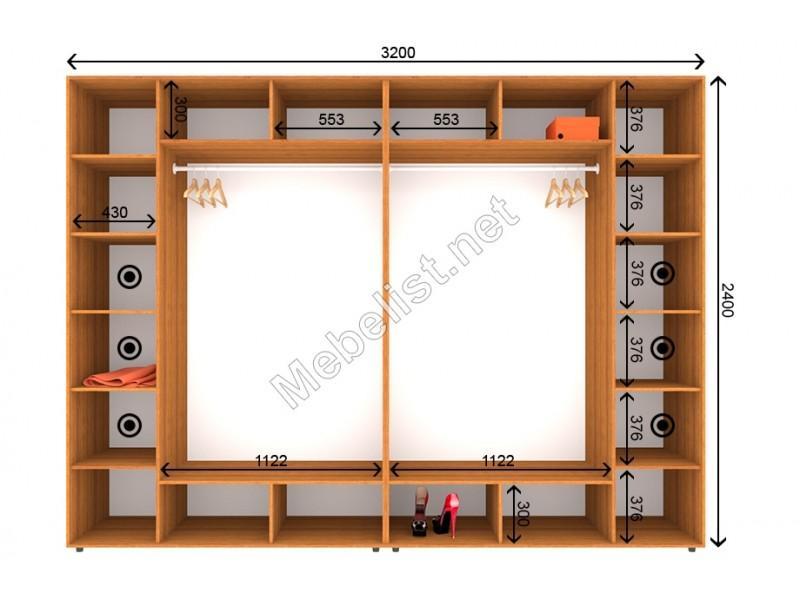 Четырехдверный шкаф-купе ШК 7-7-24 (320*60*240 см.)