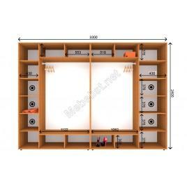 Четырехдверный шкаф-купе ШК 7-8-24 (330*60*240 см.)