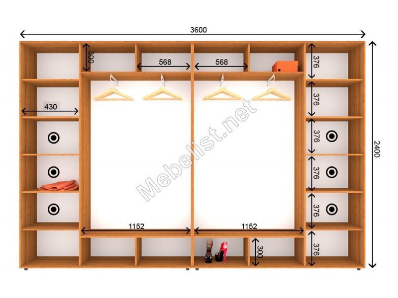 Четырехдверный шкаф-купе ШК 8-9-24 (350*60*240 см.)