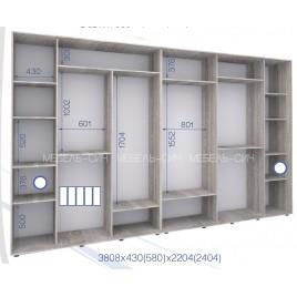 Пятидверный шкаф-купе ПШК 02-5Ф-24 (380*43*240 см.)