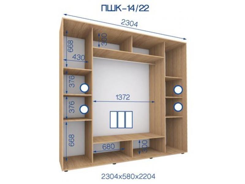 Трехдверный шкаф купе ПШК-14/22 230*58*224 см