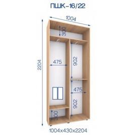 Двухдверный шкаф купе ПШК-16/22 100*43*222 см