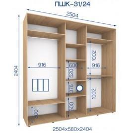 Трехдверный шкаф купе ПШК-31/24 250*58*242 см