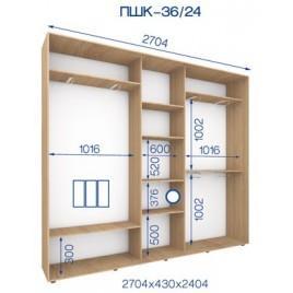 Трехдверный шкаф купе ПШК-36/24 270*43*242 см