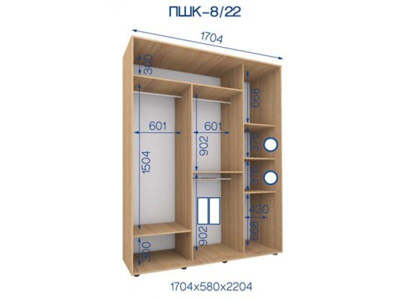 Двухдверный шкаф купе ПШК-08/22 170*58*222 см