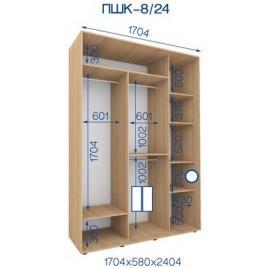 Двухдверный шкаф купе ПШК-08/24 170*58*242 см