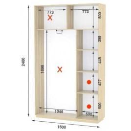 Двухдверный шкаф купе Стандарт 160*45*240 см