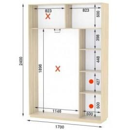 Двухдверный шкаф купе Стандарт 170*45*240 см