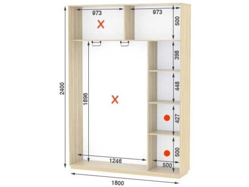 Двухдверный шкаф купе Стандарт 180*45*240 см