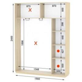 Двухдверный шкаф купе Стандарт 190*45*240 см