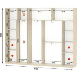 Четырехдверный шкаф купе Стандарт 310*45*240 см