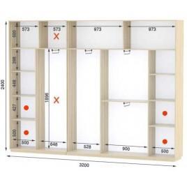Четырехдверный шкаф купе Стандарт 320*45*240 см