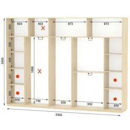 Четырехдверный шкаф купе Стандарт 330*45*240 см