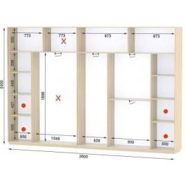 Четырехдверный шкаф купе Стандарт 360*45*240 см