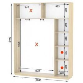 Двухдверный шкаф купе Стандарт 200*45*240 см