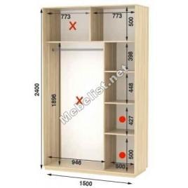 Двухдверный шкаф купе Стандарт 150*60*240 см