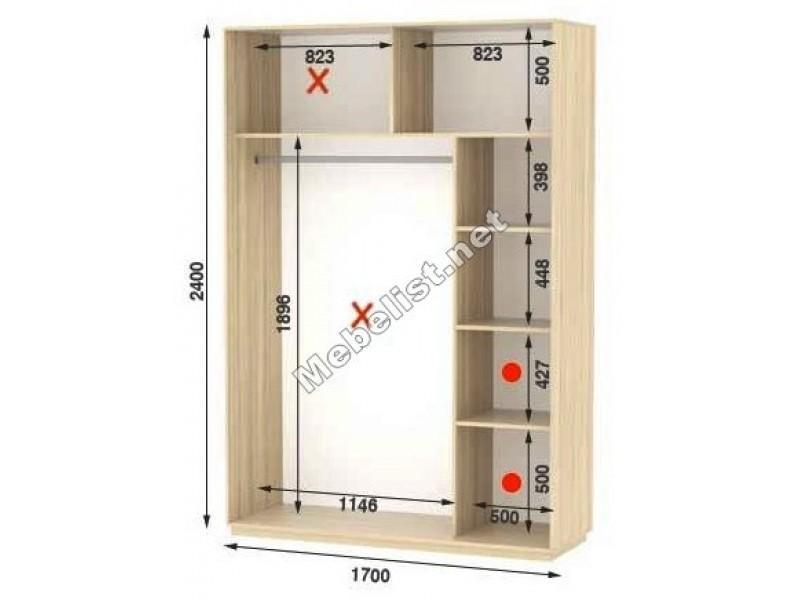 Двухдверный шкаф купе Стандарт 170*60*240 см