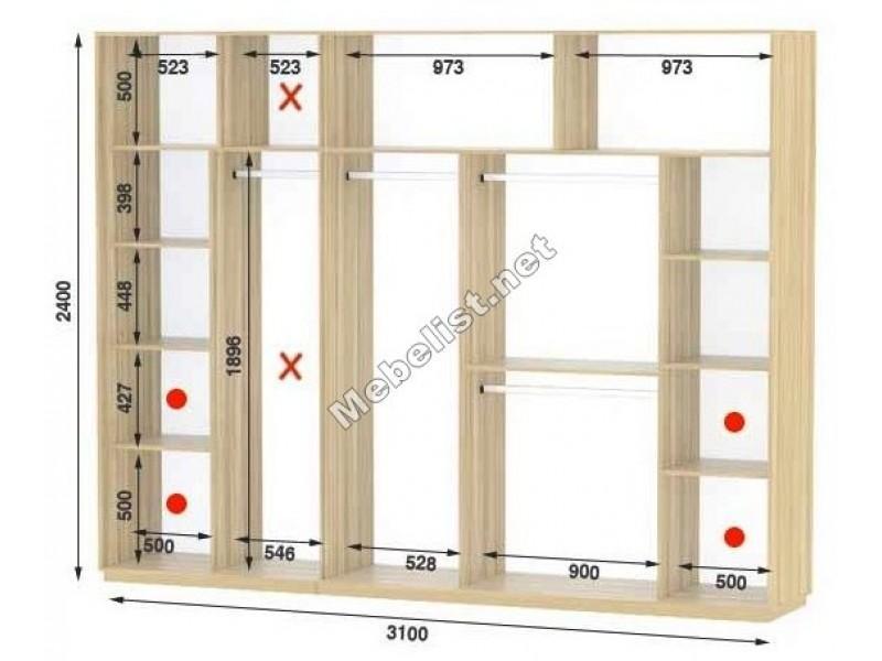 Четырехдверный шкаф купе Стандарт 310*60*240 см