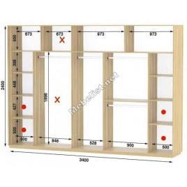 Четырехдверный шкаф купе Стандарт 340*60*240 см