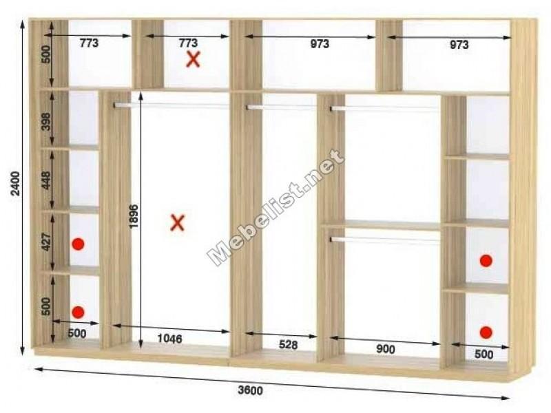 Четырехдверный шкаф купе Стандарт 360*60*240 см