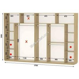 Четырехдверный шкаф купе Стандарт 370*60*240 см