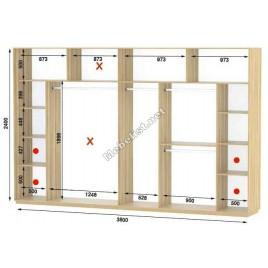 Четырехдверный шкаф купе Стандарт 380*60*240 см