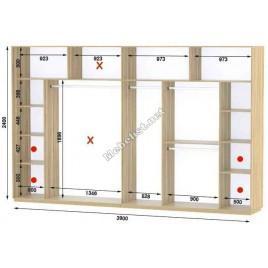 Четырехдверный шкаф купе Стандарт 390*60*240 см